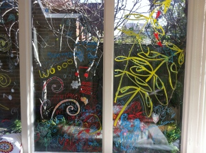 The kids helped with window drawing practice